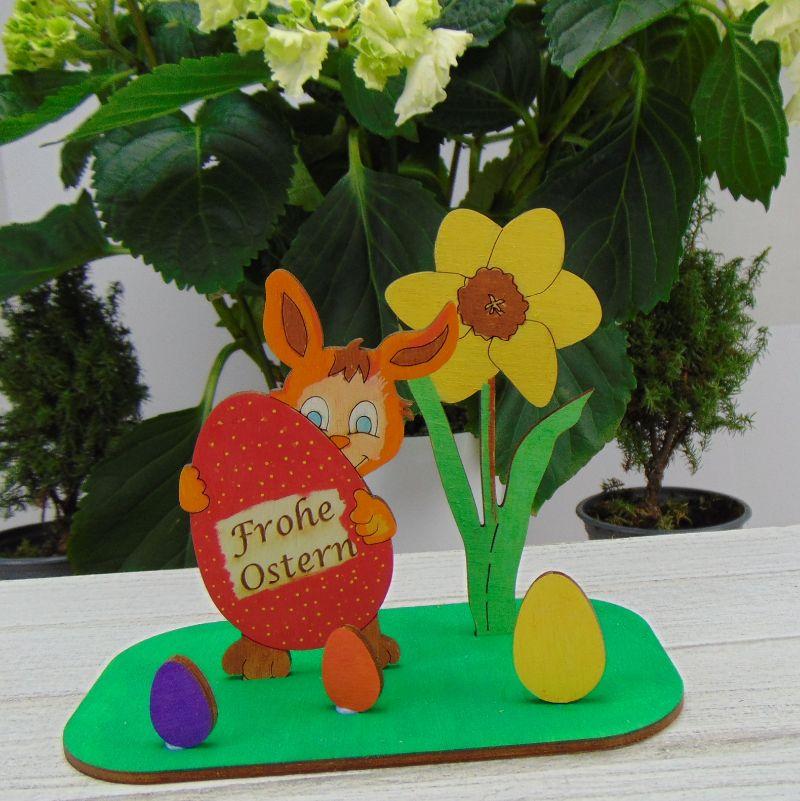 Kleinesbild - Osterdekoration- oder Geschenk ★  Hase/ Eier/ Narzisse aus Holz ★ mit Wunschgravur  ★ Personalisierung
