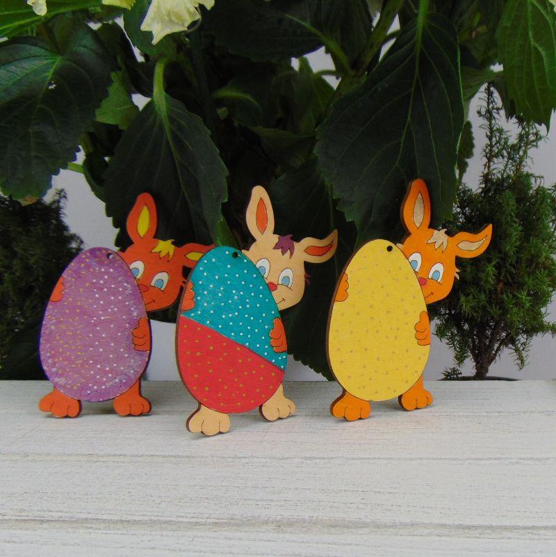 Kleinesbild - Osterdekoration- oder Geschenk ★ Hasen mit Ei aus Holz ★ 3 Stück ★ zum Aufhängen an den Osterstrauß