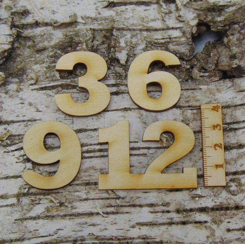 Kleinesbild - Römische Ziffern oder Zahlen aus Naturholz ★35 mm ★ 3 6 9 12 für Uhren