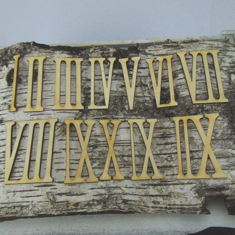 - Römische Ziffern oder Zahlen aus Naturholz ★80 mm Schmal ★ 1 -12 für Uhren  - Römische Ziffern oder Zahlen aus Naturholz ★80 mm Schmal ★ 1 -12 für Uhren