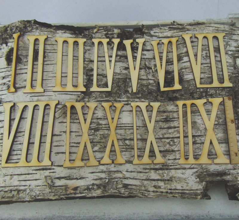 Kleinesbild - Römische Ziffern oder Zahlen aus Naturholz ★80 mm Schmal ★ 1 -12 für Uhren