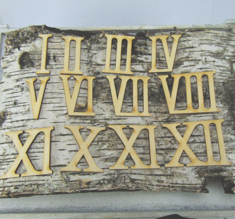 - Römische Ziffern oder Zahlen aus Naturholz ★60 mm ★ 1 - 12 für Uhren  IX  - Römische Ziffern oder Zahlen aus Naturholz ★60 mm ★ 1 - 12 für Uhren  IX