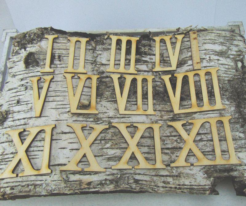 Kleinesbild - Römische Ziffern oder Zahlen aus Naturholz ★60 mm ★ 1 - 12 für Uhren  IX
