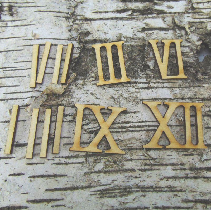 - Römische Ziffern oder Zahlen aus Naturholz ★35 mm höhe  3 6 9 12 & 8 Striche ★ für Uhren  - Römische Ziffern oder Zahlen aus Naturholz ★35 mm höhe  3 6 9 12 & 8 Striche ★ für Uhren