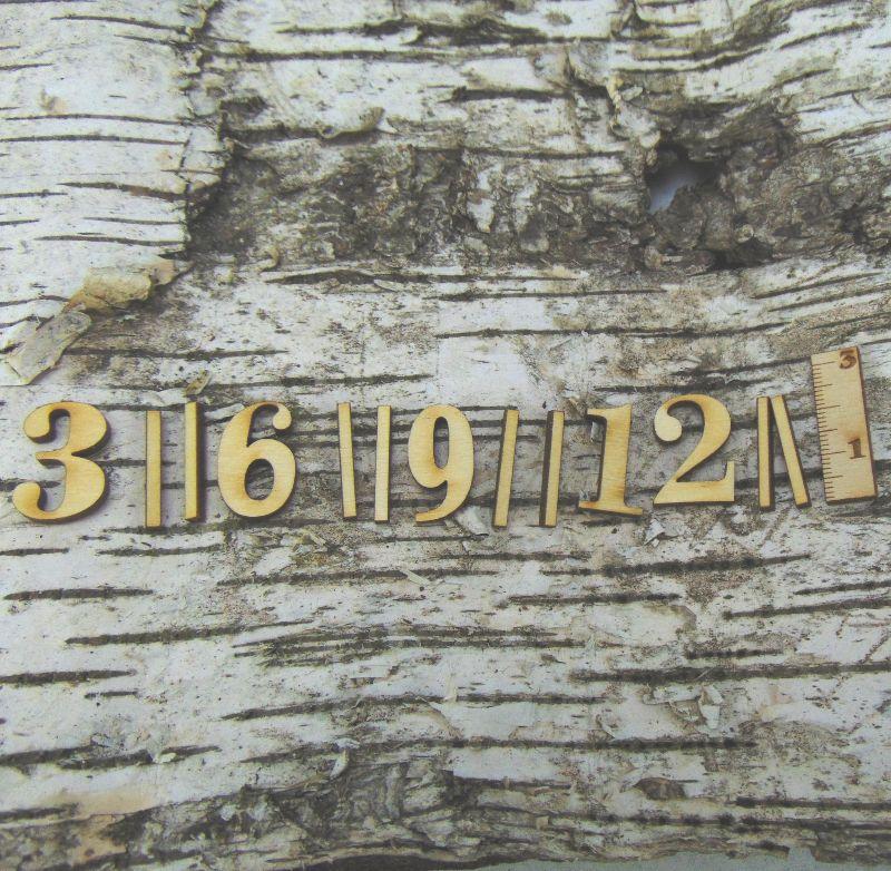 Kleinesbild - Römische Ziffern oder Zahlen aus Naturholz ★25 mm ★ 3 6 9 12 plus 8 striche für Uhren  Sonderposten