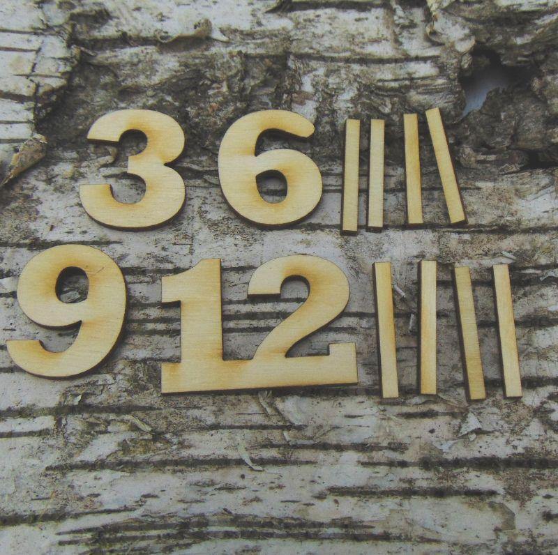 - Römische Ziffern oder Zahlen aus Naturholz ★30 mm ★ 3 6 9 12 plus 8 Striche  für Uhren in 3 mm Stärke - Römische Ziffern oder Zahlen aus Naturholz ★30 mm ★ 3 6 9 12 plus 8 Striche  für Uhren in 3 mm Stärke
