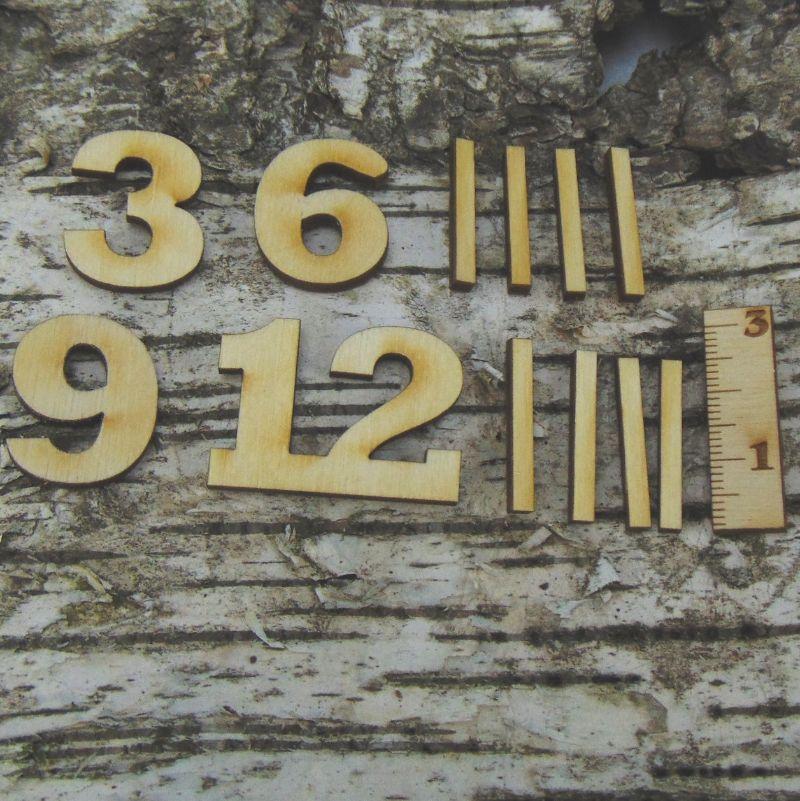 Kleinesbild - Römische Ziffern oder Zahlen aus Naturholz ★25 mm ★ 3 6 9 12 plus 8 Striche für Uhren