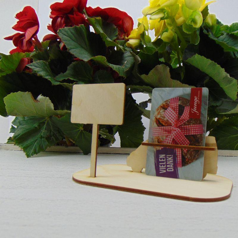Kleinesbild -  ♥ Geldgeschenk ♥ Van Wohnmobil aus Holz Gutscheingeschenk mit Ortsschild gravierter Spruch Frohe Weihnachten