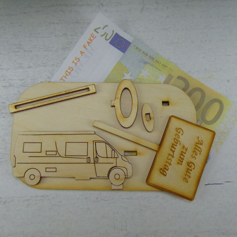 Kleinesbild -  ♥ Geldgeschenk ♥ Van Wohnmobil aus Holz Gutscheingeschenk mit Ortsschild zum Geburtstag gravierter Spruch Wunschname zum Wunschzahl Alles Gute