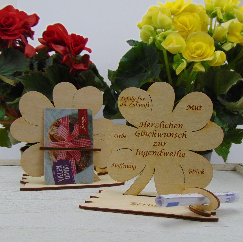 Kleinesbild - Jugendweihe Geldgeschenk ♥ Personalisierung ♥ Holz 11,7 cm  Geschenk für Jungs und Mädchen Naturholz graviert mit Namen