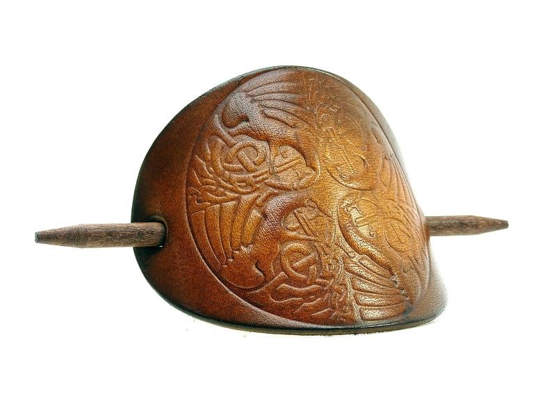 Kleinesbild - Haarspange Leder - OX Antique Dragon Tribal - Vickys World - Kostenloser Versand