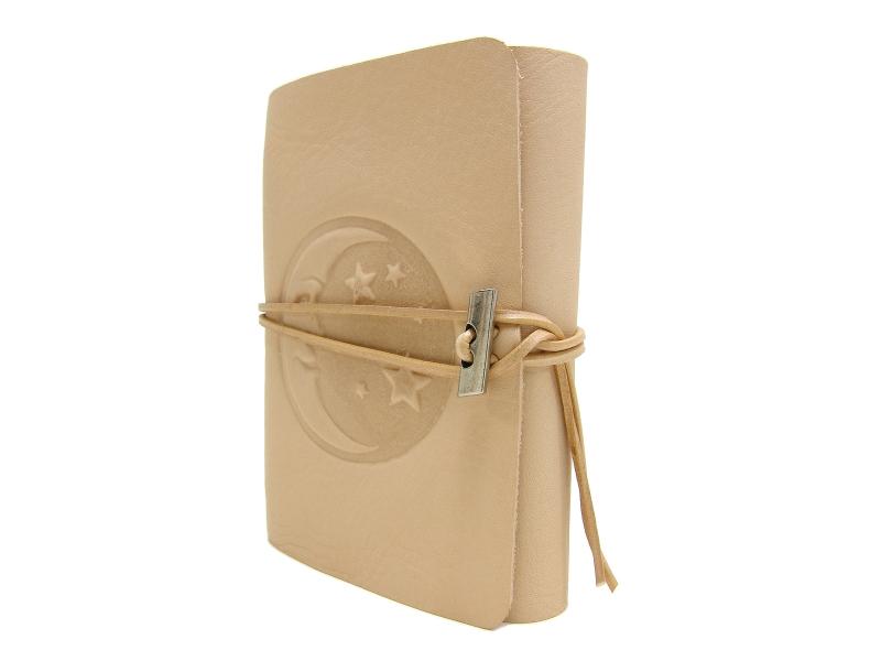 Kleinesbild - Lederbuch Tagebuch Notizbuch - soft OX Moon & Stars Nature - A6 - 400 Seiten - Vickys World - Kostenloser Versand