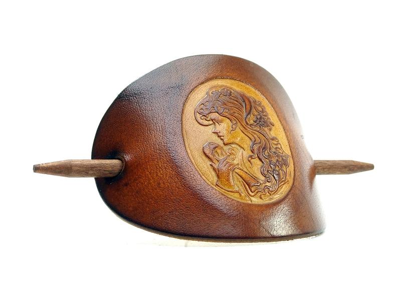 Kleinesbild - Haarspange Leder - OX Antique Cameo Anna - Vickys World - Kostenloser Versand