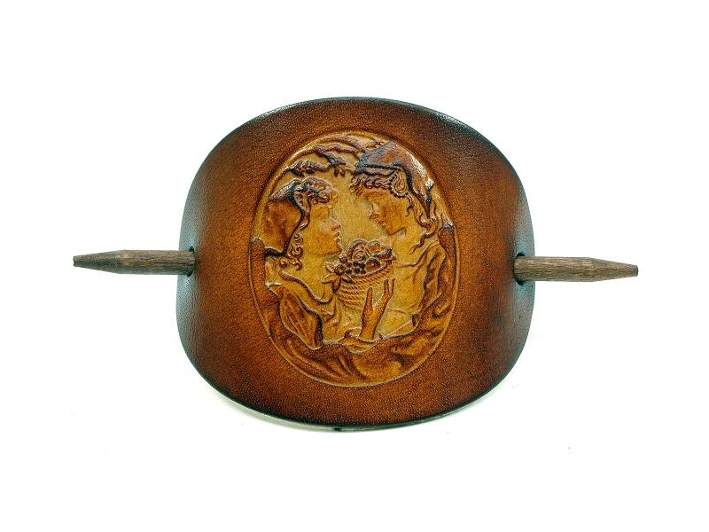 Kleinesbild - Haarspange Leder - OX Antique Cameo Estelle & Colette - Vickys World - Kostenloser Versand