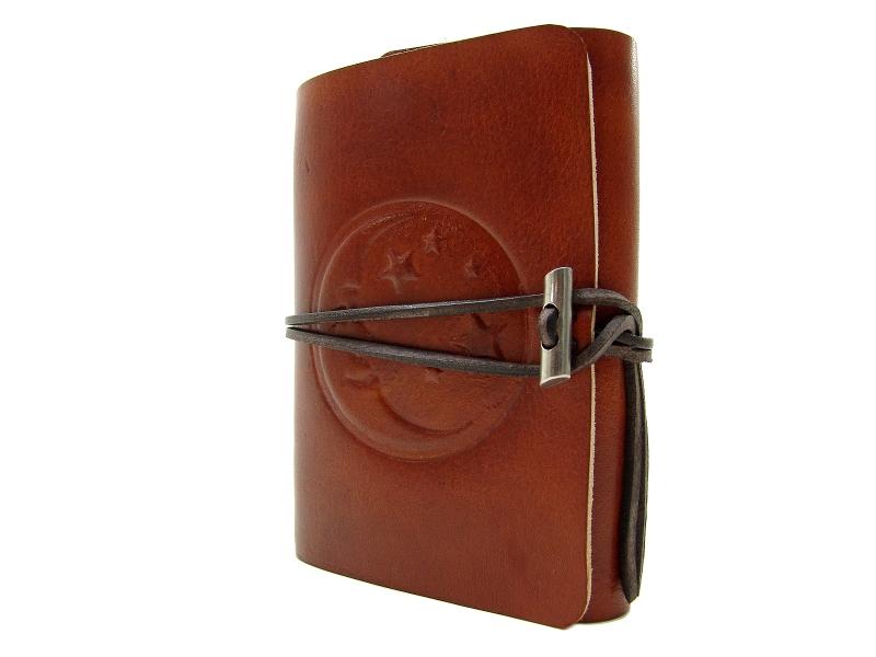 Kleinesbild - Lederbuch Tagebuch Notizbuch - soft OX Moon & Stars Lion - A6 - 400 Seiten - Vickys World - Kostenloser Versand
