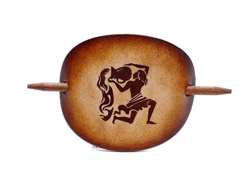 Kleinesbild - Haarspange Leder - OX Antique Sternzeichen Wassermann - Vickys World - Kostenloser Versand