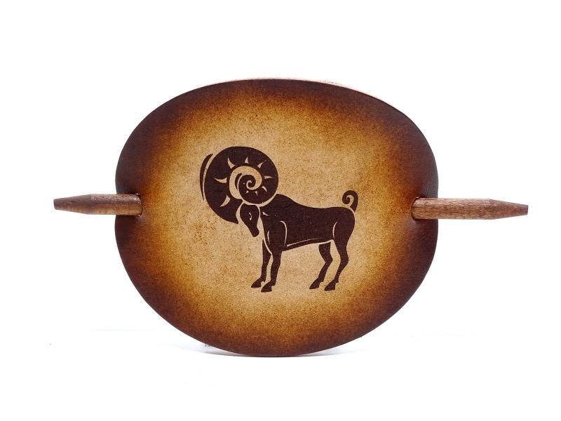 Kleinesbild - Haarspange Leder - OX Antique Sternzeichen Widder - Vickys World - Kostenloser Versand