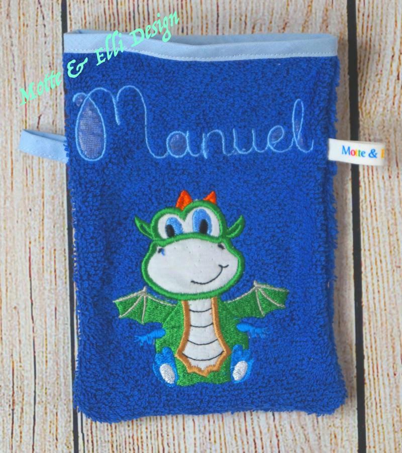 - Waschlappen / Waschhandschuh aus Frottee bestickt mit Drache und Name - Waschlappen / Waschhandschuh aus Frottee bestickt mit Drache und Name