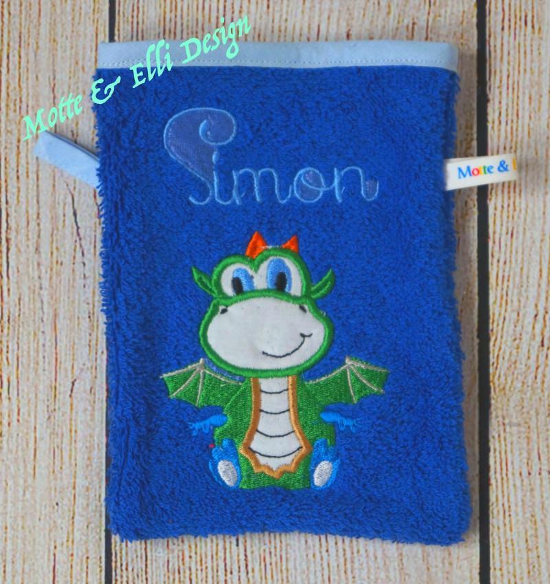 Kleinesbild - Waschlappen / Waschhandschuh aus Frottee bestickt mit Drache und Name