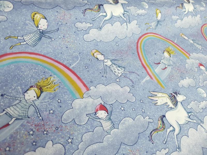 - Lillestoff Bio-Jersey  - Am Ende des Regenbogens - Susalabim - Regenbogen Stoff - 0.5 m pro Stück - Lillestoff Bio-Jersey  - Am Ende des Regenbogens - Susalabim - Regenbogen Stoff - 0.5 m pro Stück