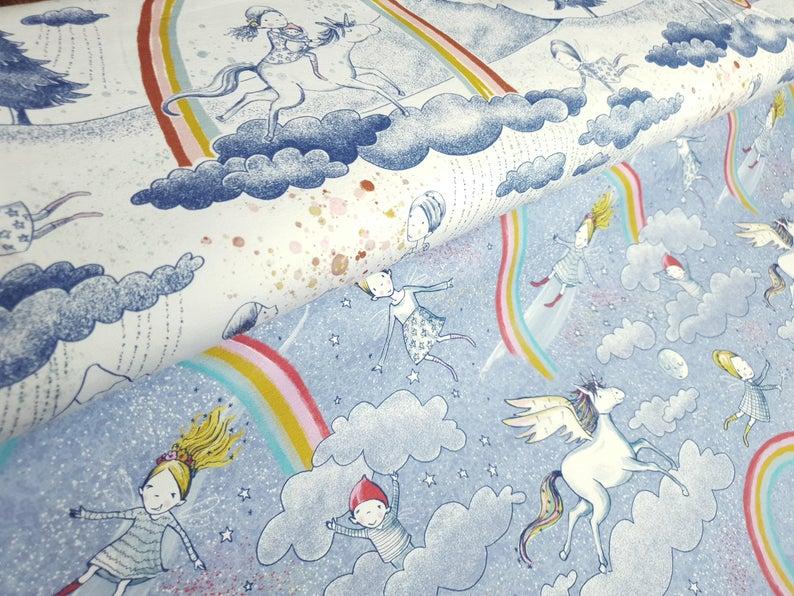 Kleinesbild - Lillestoff Bio-Jersey  - Am Ende des Regenbogens - Susalabim - Regenbogen Stoff - 0.5 m pro Stück