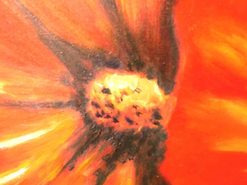 Kleinesbild - Stockrose, Ölbild auf Leinwand auf Keilrahmen aufgezogen