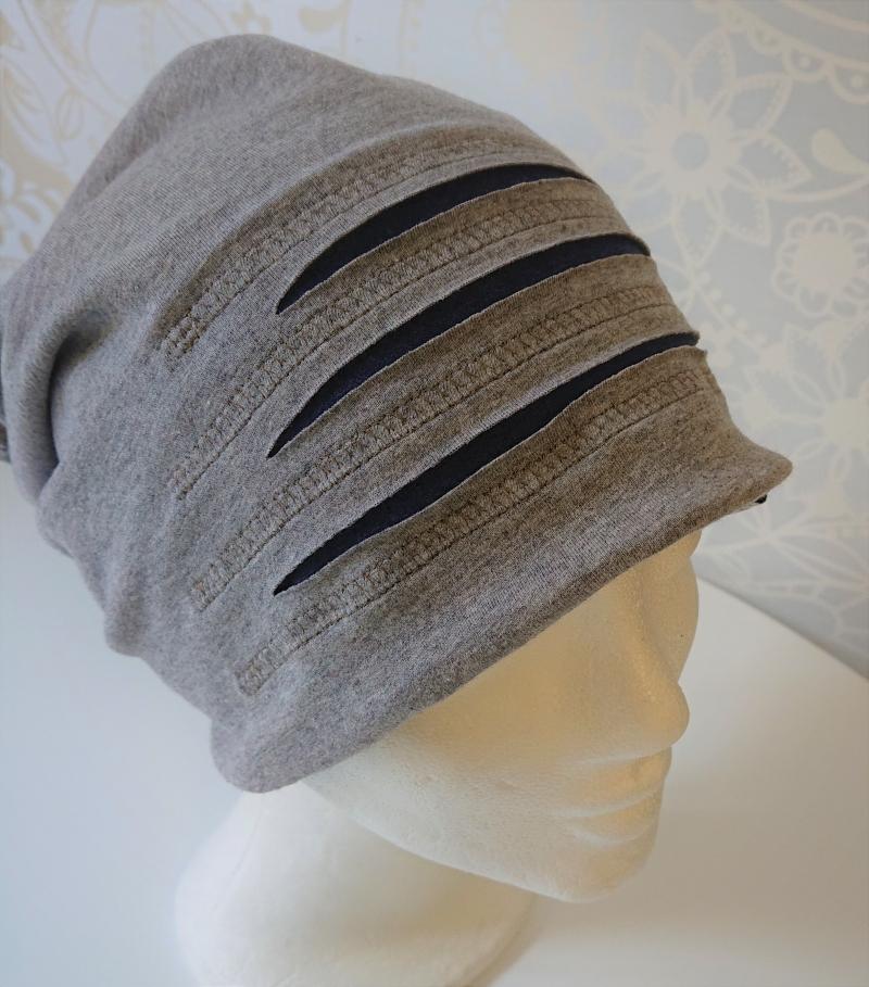 Kleinesbild - Mütze , Beanie aus Baumwolljersey  , grau blau, Handmade by la piccola Antonella