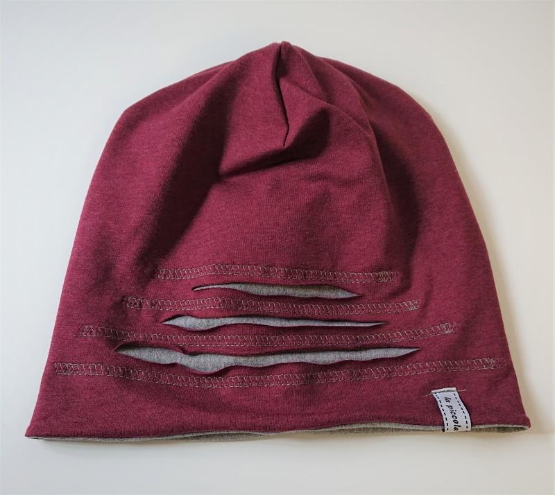 Kleinesbild - Mütze Beanie für Hipster aus Baumwolljersey  , weinrot grau, Handmade by la piccola Antonella