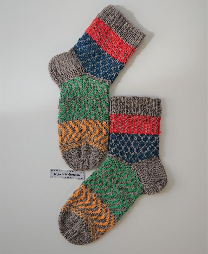 Kleinesbild - Handgestrickte bunte Wollsocken, Kindersocken ,  Gr. 34/35 , Fairisle Socken , grau orange blau grün gelb