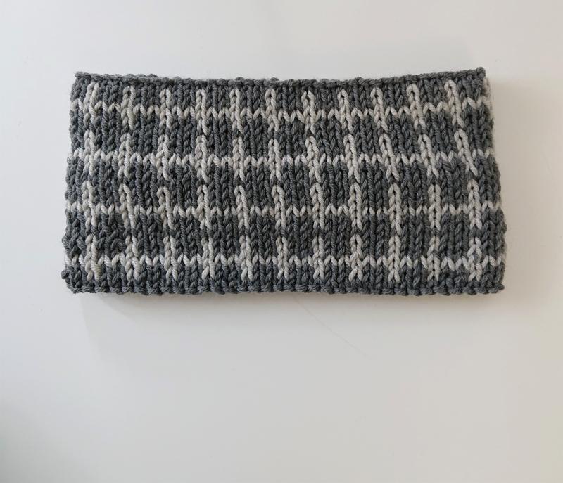 Kleinesbild - Gestricktes Stirnband ,  handgestrickt aus 100% Wolle ( Merino ), doppellagig , Fairisle , dunkelgrau / hellgrau ,  handgestrickt von la piccola Antonella