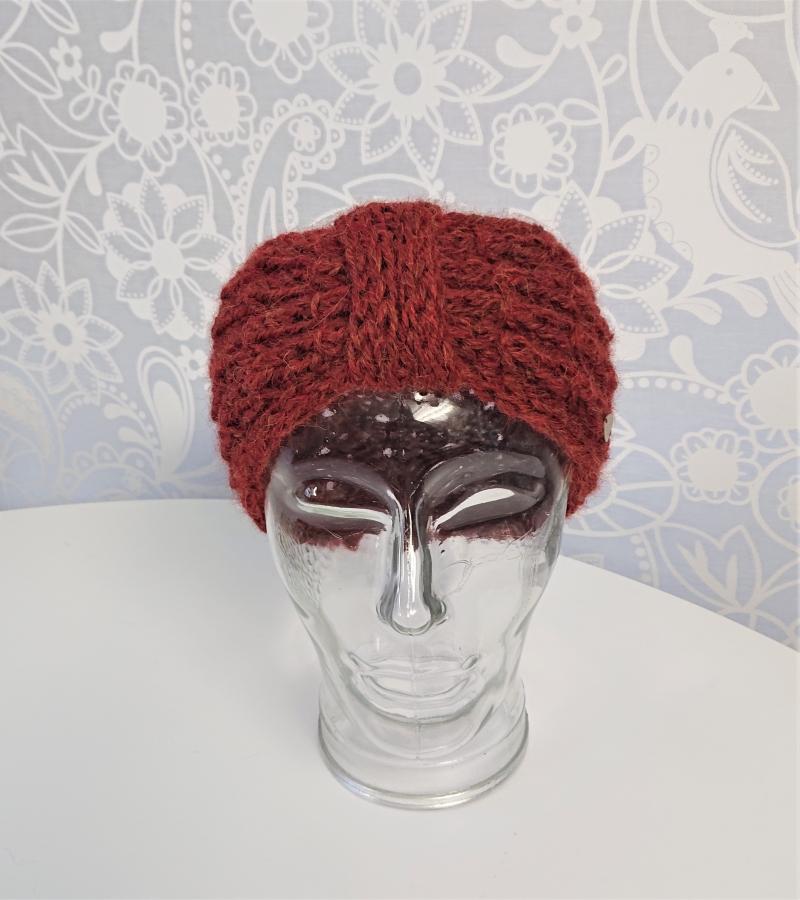 Kleinesbild - Stirnband gestrickt aus 100% Alpaka in rost / kupfer mit Zopfmuster , handgestrickt von la piccola Antonella
