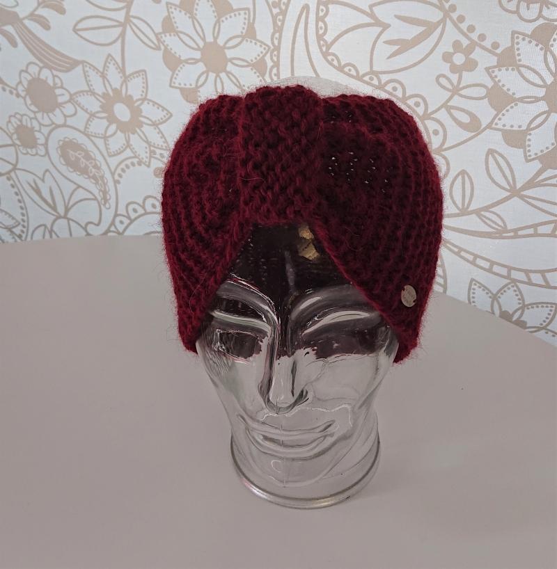 Kleinesbild - Breites gestricktes Stirnband  aus dicker 100% Alpaka , geraffter Twist, handgestrickt von la piccola Antonella