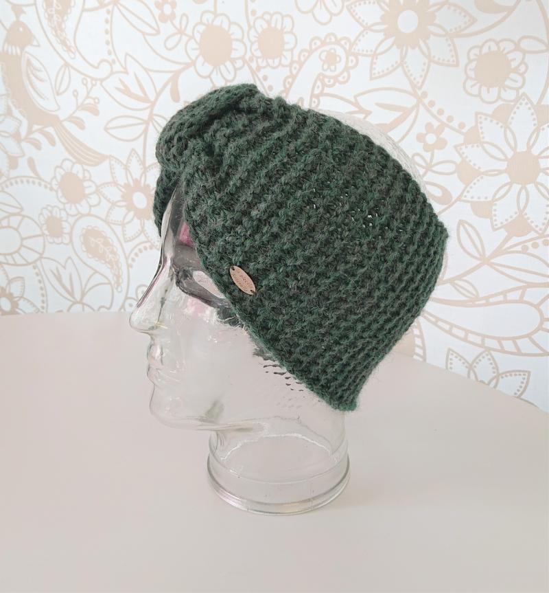 Kleinesbild - Breites gestricktes Stirnband in salbei grün  aus 100 % Alpaka, geraffter Twist, handgestrickt von la piccola Antonella