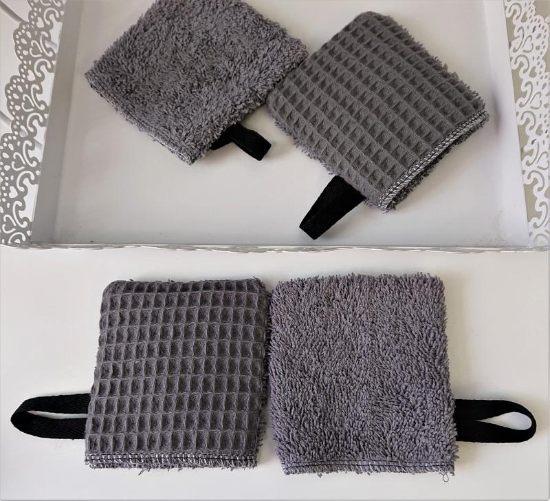 Kleinesbild - Kosmetikpads , Abschminkpads , mini Waschlappen aus Baumwolle , Frottee und Waffelpique - wiederverwendbar - waschbar  - Set mit 4 Stück -  Handmade by la piccola Antonella