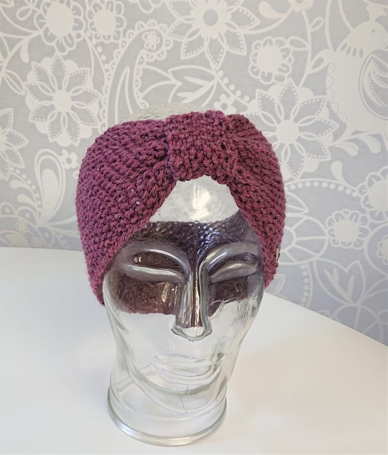 Kleinesbild - Stirnband in Beere / Rosa , gestrickt aus 100% Wolle (Merino), geraffter Twist , handgestrickt von la piccola Antonella