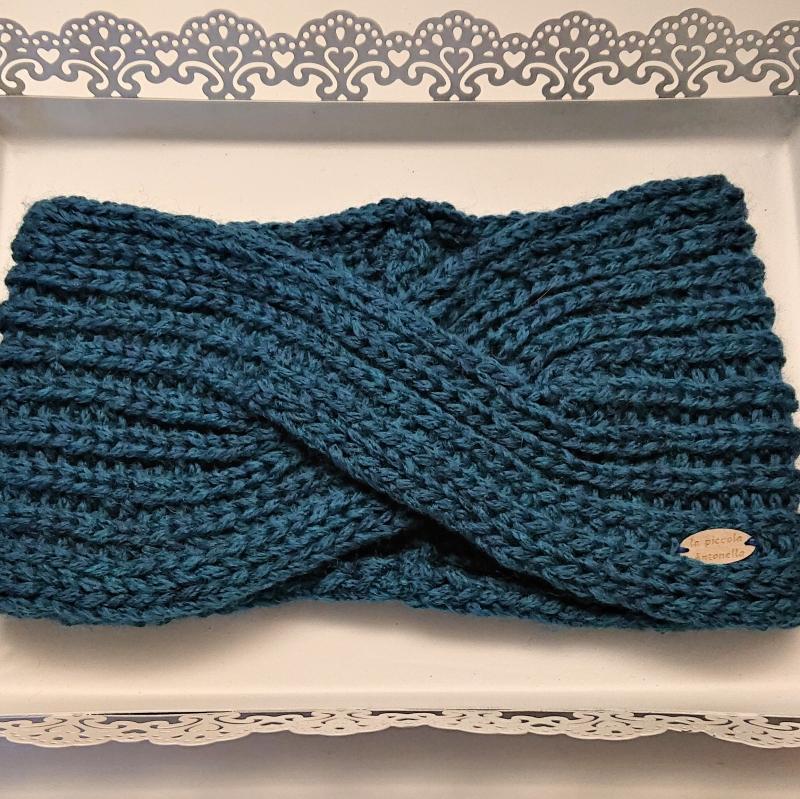 - Gestricktes Stirnband aus 100% Wolle (Merino ) in blau, gekreuzter  Twist,  handgestrickt von la piccola Antonella - Gestricktes Stirnband aus 100% Wolle (Merino ) in blau, gekreuzter  Twist,  handgestrickt von la piccola Antonella