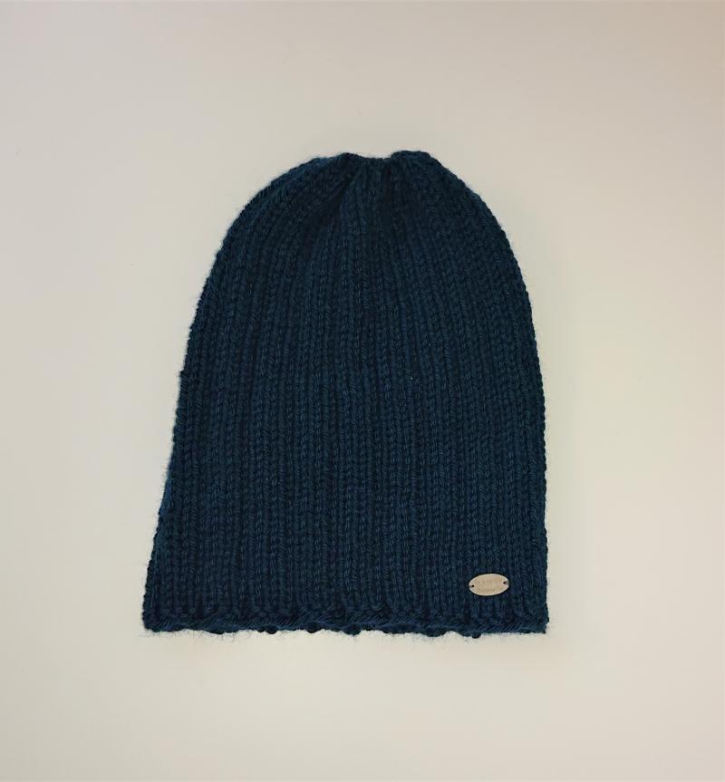 Kleinesbild - Gestrickte Mütze  Beanie  aus 100% Wolle  (Merino ) in Blau Grün/ Petrol , Unisex,  handgestrickt / handmade by la piccola Antonella