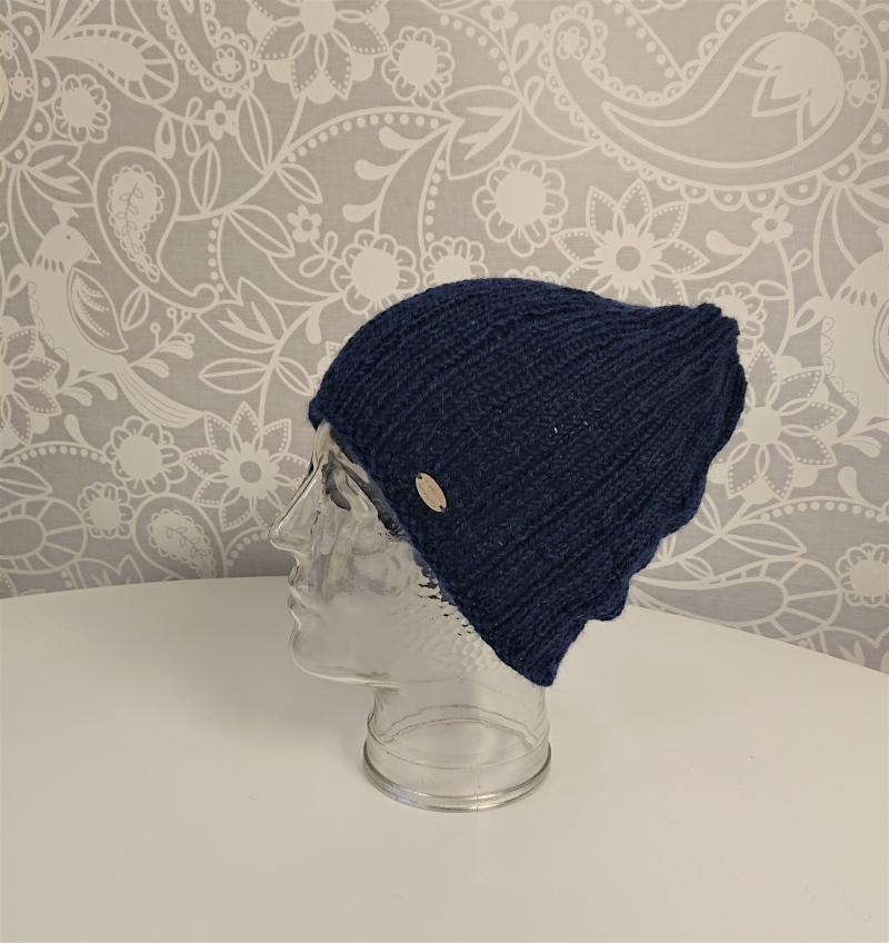 Kleinesbild - Gestrickte Mütze  Beanie in blau  aus 100% Alpaka , Unisex,  handgestrickt / handmade by la piccola Antonella
