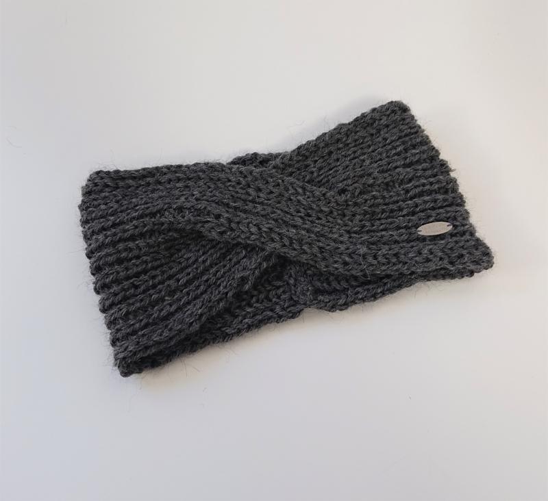 Kleinesbild - Gestricktes Stirnband in dunkel grau aus 100%  Alpaka Wolle , gekreuzter  Twist ,  handgestrickt von la piccola Antonella