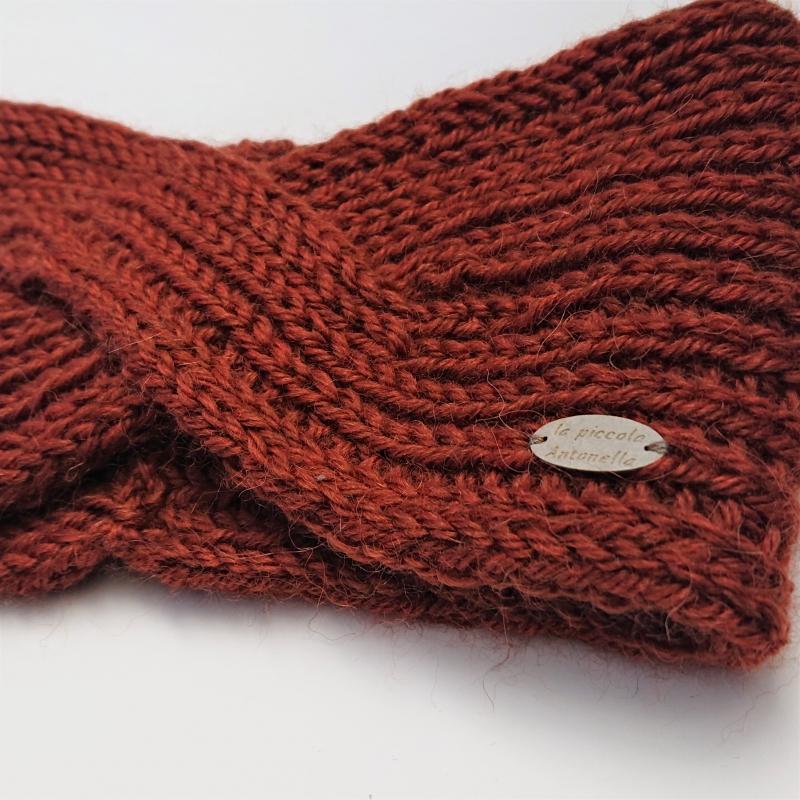 Kleinesbild - Gestricktes Stirnband in kupfer, handgestrickt aus  Alpaka , einfacher flacher Twist im Stirnbereich, handmade by la piccola Antonella