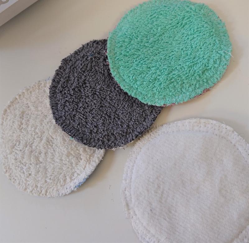 Kleinesbild - Zero Waste - Kosmetikpads , Abschminkpads aus Baumwolle ,waschbar - wiederverwendbar , Farbwahl, Set mit 5 Stück in 10 cm