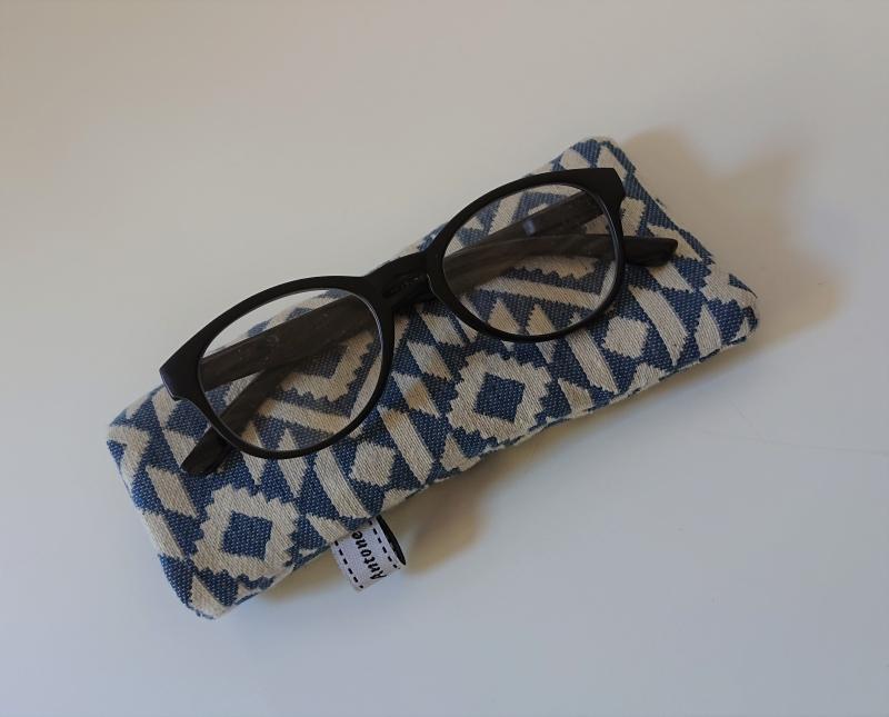 - Brillenetui genäht in blau Ethno Design , Handmade by la piccola Antonella - Brillenetui genäht in blau Ethno Design , Handmade by la piccola Antonella