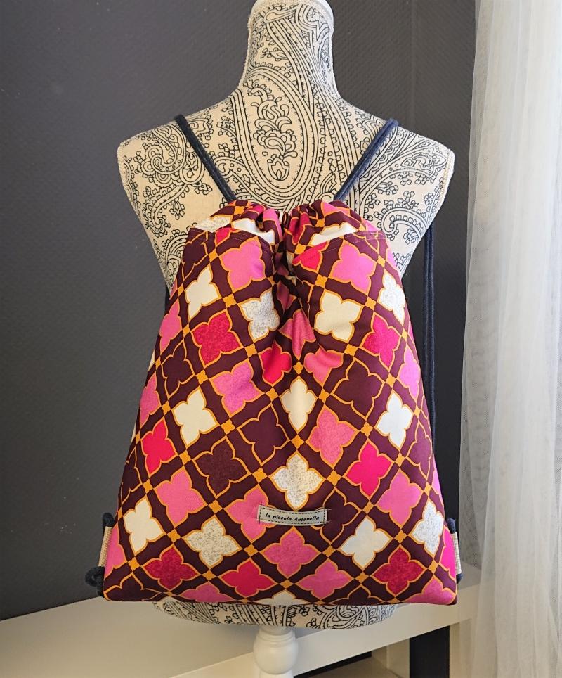 Kleinesbild - Turnbeutel mit Ornamenten in beere pink rosa , Handmade by la piccola Antonella