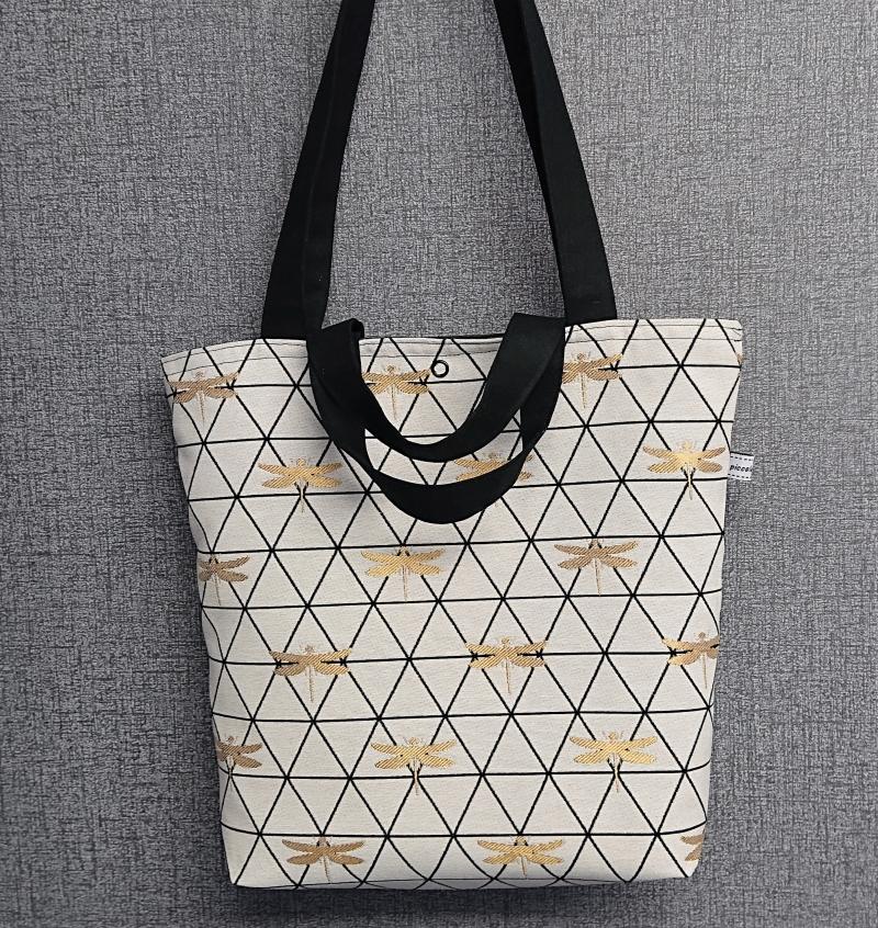 Kleinesbild - Einfacher Shopper, Henkeltasche mit goldenen Libellen , Einkaufstasche, Beutel , Handmade by la piccola Antonella