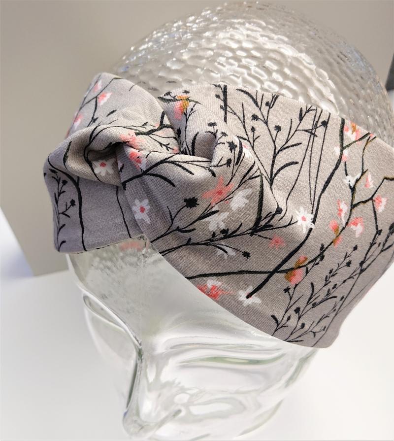 Kleinesbild - Stirnband , Knotenstirnband, Turbanstirnband, Bandeau, Haarband mit kleinen Blümchen, handmade by la piccola Antonella