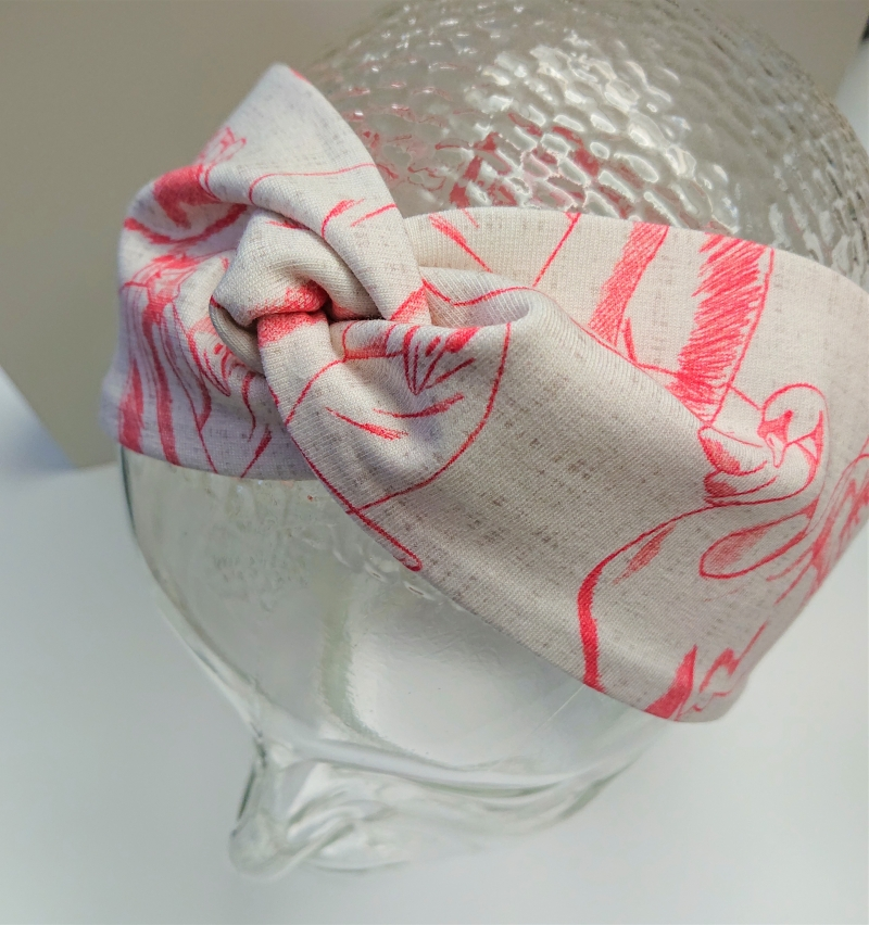 Kleinesbild - Stirnband , Knotenstirnband, Turbanstirnband, Bandeau, Haarband mit Schwänen, handmade by la piccola Antonella