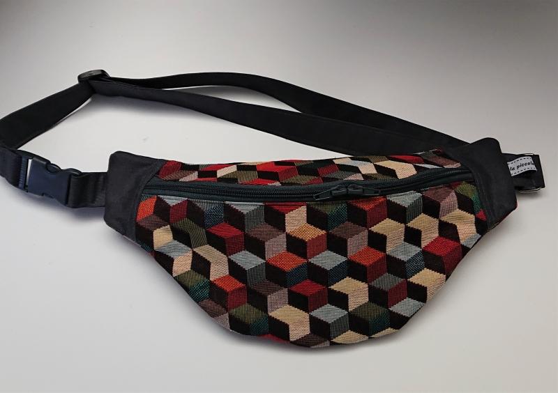 - Bauchtasche Hüfttasche mit bunten Cubes , tragbar auch als Crossbag, Umhängetasche, handmade by la piccola Antonella - Bauchtasche Hüfttasche mit bunten Cubes , tragbar auch als Crossbag, Umhängetasche, handmade by la piccola Antonella