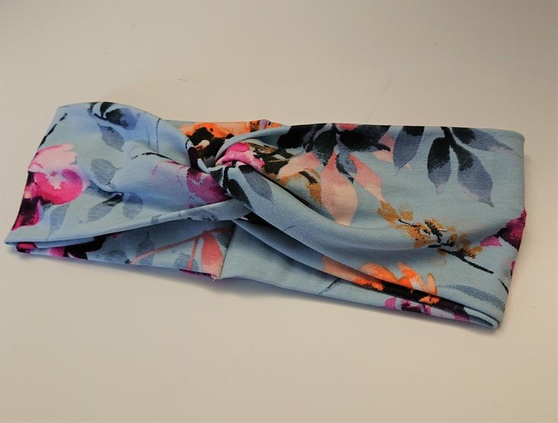 Kleinesbild - Stirnband , Knotenstirnband, Turbanstirnband, Bandeau, Haarband mit Hibiskus, handmade by la piccola Antonella