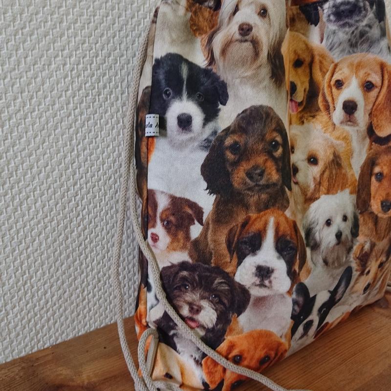 Kleinesbild - Turnbeutel, Festivaltasche, Rucksack mit Hunden , Handmade by la piccola Antonella