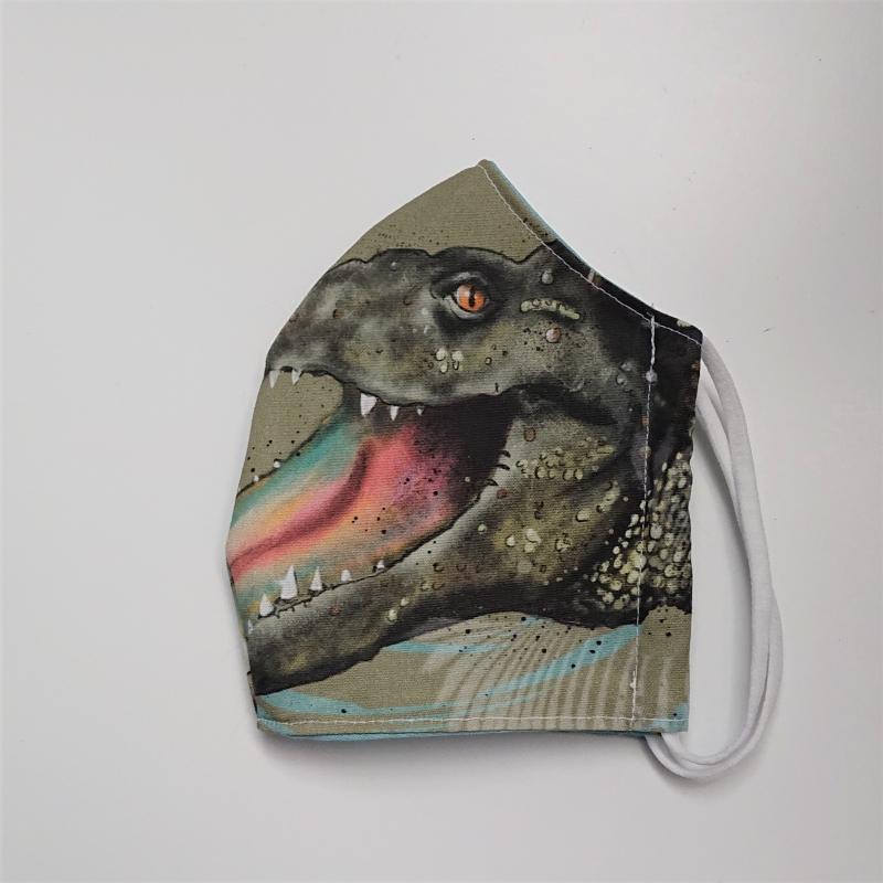 Kleinesbild - Mund - und Nasen - Maske für Schul Kinder mit Krokodil, dünne Baumwolle, 2 lagig, 1 Stück , KEIN Virenschutz , handmade by la piccola Antonella